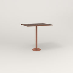 RAD Cafe Table, Rectangular 2 Top Bolt Down Base in slatted wood and coral powder coat.