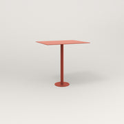 RAD Cafe Table, Rectangular 2 Top Bolt Down Base in aluminum and red powder coat.
