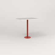 RAD Cafe Table, Rectangular 2 Top Bolt Down Base in acrylic and red powder coat.