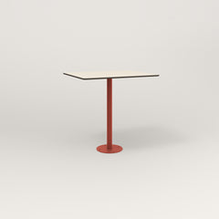RAD Cafe Table, Rectangular 2 Top Bolt Down Base in hpl and red powder coat.