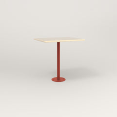 RAD Cafe Table, Rectangular 2 Top Bolt Down Base in solid ash and red powder coat.