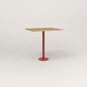 RAD Cafe Table, Rectangular 2 Top Bolt Down Base in white oak europly and red powder coat.