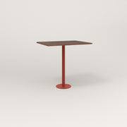 RAD Cafe Table, Rectangular 2 Top Bolt Down Base in slatted wood and red powder coat.