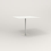 RAD Cafe Table, Rectangular 4 Top Bolt Down Base in aluminum and white powder coat.