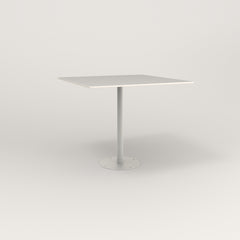 RAD Cafe Table, Rectangular 4 Top Bolt Down Base in acrylic and white powder coat.