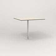RAD Cafe Table, Rectangular 4 Top Bolt Down Base in hpl and white powder coat.