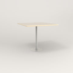RAD Cafe Table, Rectangular 4 Top Bolt Down Base in solid ash and white powder coat.