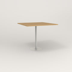 RAD Cafe Table, Rectangular 4 Top Bolt Down Base in white oak europly and white powder coat.
