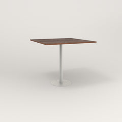 RAD Cafe Table, Rectangular 4 Top Bolt Down Base in slatted wood and white powder coat.