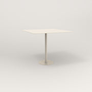 RAD Cafe Table, Rectangular 4 Top Bolt Down Base in aluminum and off-white powder coat.