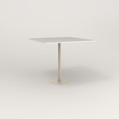 RAD Cafe Table, Rectangular 4 Top Bolt Down Base in acrylic and off-white powder coat.