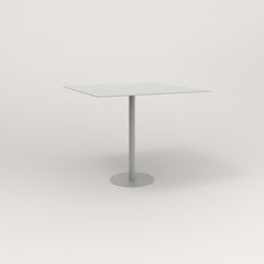 RAD Cafe Table, Rectangular 4 Top Bolt Down Base in aluminum and grey powder coat.