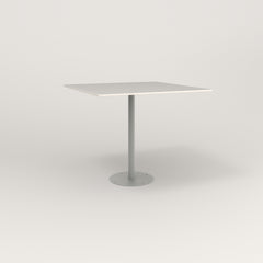 RAD Cafe Table, Rectangular 4 Top Bolt Down Base in acrylic and grey powder coat.