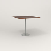 RAD Cafe Table, Rectangular 4 Top Bolt Down Base in slatted wood and grey powder coat.