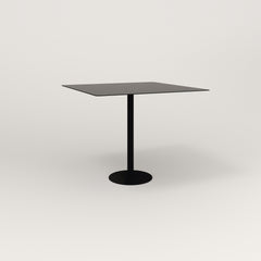 RAD Cafe Table, Rectangular 4 Top Bolt Down Base in aluminum and black powder coat.