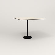 RAD Cafe Table, Rectangular 4 Top Bolt Down Base in hpl and black powder coat.