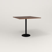 RAD Cafe Table, Rectangular 4 Top Bolt Down Base in slatted wood and black powder coat.