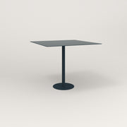 RAD Cafe Table, Rectangular 4 Top Bolt Down Base in aluminum and navy powder coat.