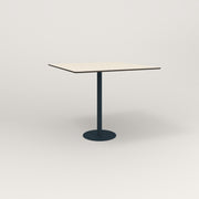 RAD Cafe Table, Rectangular 4 Top Bolt Down Base in hpl and navy powder coat.