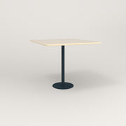 RAD Cafe Table, Rectangular 4 Top Bolt Down Base in solid ash and navy powder coat.
