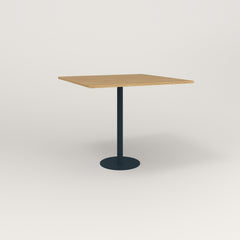 RAD Cafe Table, Rectangular 4 Top Bolt Down Base in white oak europly and navy powder coat.