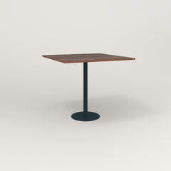 RAD Cafe Table, Rectangular 4 Top Bolt Down Base in slatted wood and navy powder coat.