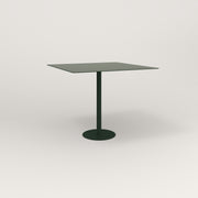 RAD Cafe Table, Rectangular 4 Top Bolt Down Base in aluminum and fir green powder coat.
