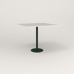 RAD Cafe Table, Rectangular 4 Top Bolt Down Base in acrylic and fir green powder coat.