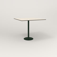 RAD Cafe Table, Rectangular 4 Top Bolt Down Base in hpl and fir green powder coat.