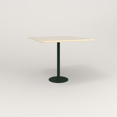 RAD Cafe Table, Rectangular 4 Top Bolt Down Base in solid ash and fir green powder coat.