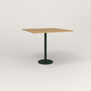 RAD Cafe Table, Rectangular 4 Top Bolt Down Base in white oak europly and fir green powder coat.