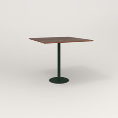 RAD Cafe Table, Rectangular 4 Top Bolt Down Base in slatted wood and fir green powder coat.