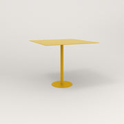 RAD Cafe Table, Rectangular 4 Top Bolt Down Base in aluminum and yellow powder coat.