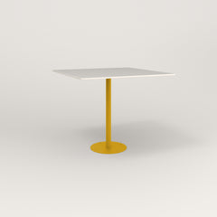 RAD Cafe Table, Rectangular 4 Top Bolt Down Base in acrylic and yellow powder coat.