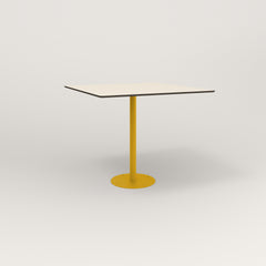 RAD Cafe Table, Rectangular 4 Top Bolt Down Base in hpl and yellow powder coat.