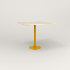 RAD Cafe Table, Rectangular 4 Top Bolt Down Base in solid ash and yellow powder coat.