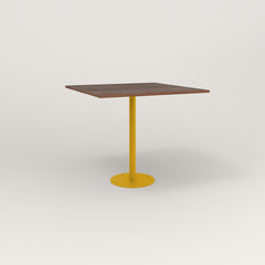 RAD Cafe Table, Rectangular 4 Top Bolt Down Base in slatted wood and yellow powder coat.