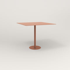 RAD Cafe Table, Rectangular 4 Top Bolt Down Base in aluminum and coral powder coat.