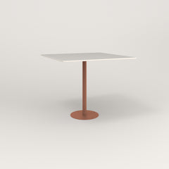 RAD Cafe Table, Rectangular 4 Top Bolt Down Base in acrylic and coral powder coat.