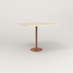 RAD Cafe Table, Rectangular 4 Top Bolt Down Base in solid ash and coral powder coat.