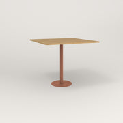 RAD Cafe Table, Rectangular 4 Top Bolt Down Base in white oak europly and coral powder coat.