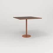 RAD Cafe Table, Rectangular 4 Top Bolt Down Base in slatted wood and coral powder coat.