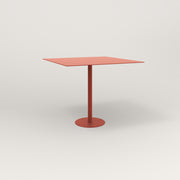 RAD Cafe Table, Rectangular 4 Top Bolt Down Base in aluminum and red powder coat.
