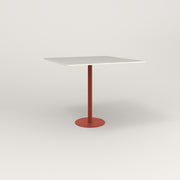 RAD Cafe Table, Rectangular 4 Top Bolt Down Base in acrylic and red powder coat.