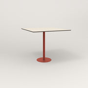 RAD Cafe Table, Rectangular 4 Top Bolt Down Base in hpl and red powder coat.