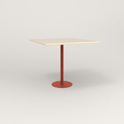 RAD Cafe Table, Rectangular 4 Top Bolt Down Base in solid ash and red powder coat.