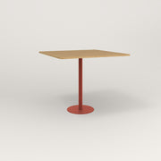 RAD Cafe Table, Rectangular 4 Top Bolt Down Base in white oak europly and red powder coat.