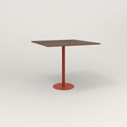RAD Cafe Table, Rectangular 4 Top Bolt Down Base in slatted wood and red powder coat.