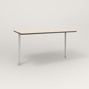 RAD Cafe Table, Rectangular Bolt Down Base T Leg in hpl and white powder coat.