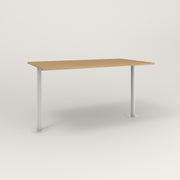 RAD Cafe Table, Rectangular Bolt Down Base T Leg in white oak europly and white powder coat.